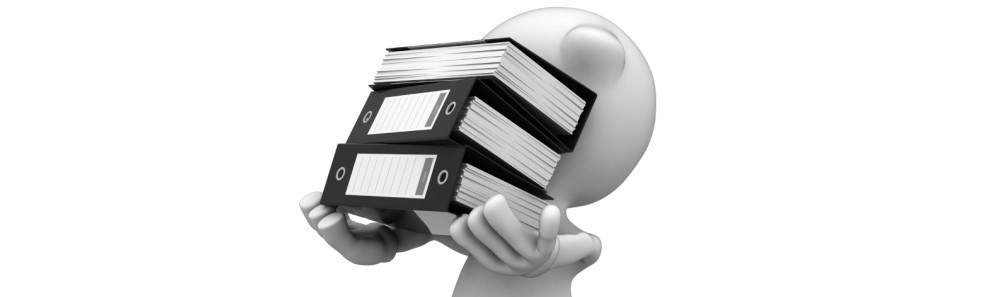 a cartoon image of a character holding a stack of papers