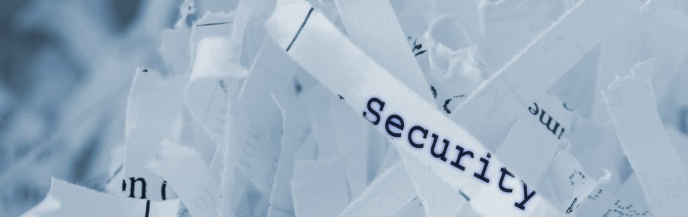 "shredded paper with one sliver reading ""Security"""